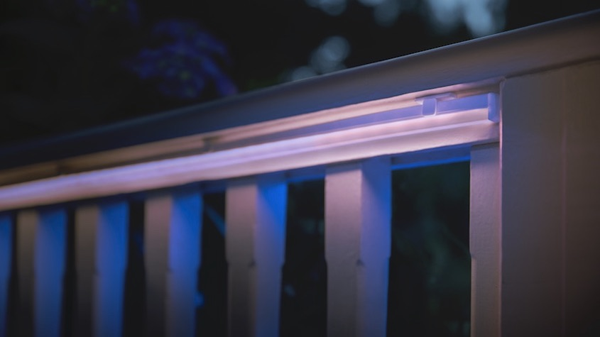 Hue lightstrip installed under railing