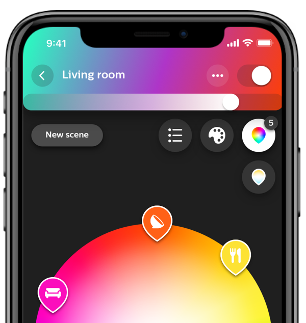 Écran de l'application Philips Hue Bridge