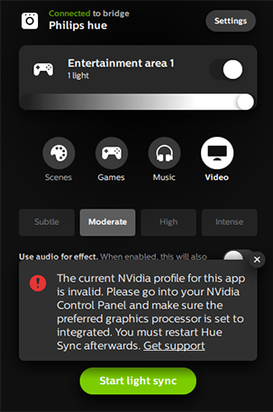 I got an error in the Hue Sync application that the Nvidia