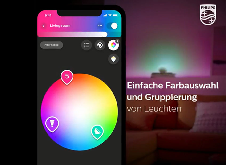 philips hue app lichtsteuerung per app philips hue. Black Bedroom Furniture Sets. Home Design Ideas