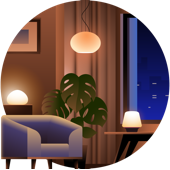 living room lighting illustration